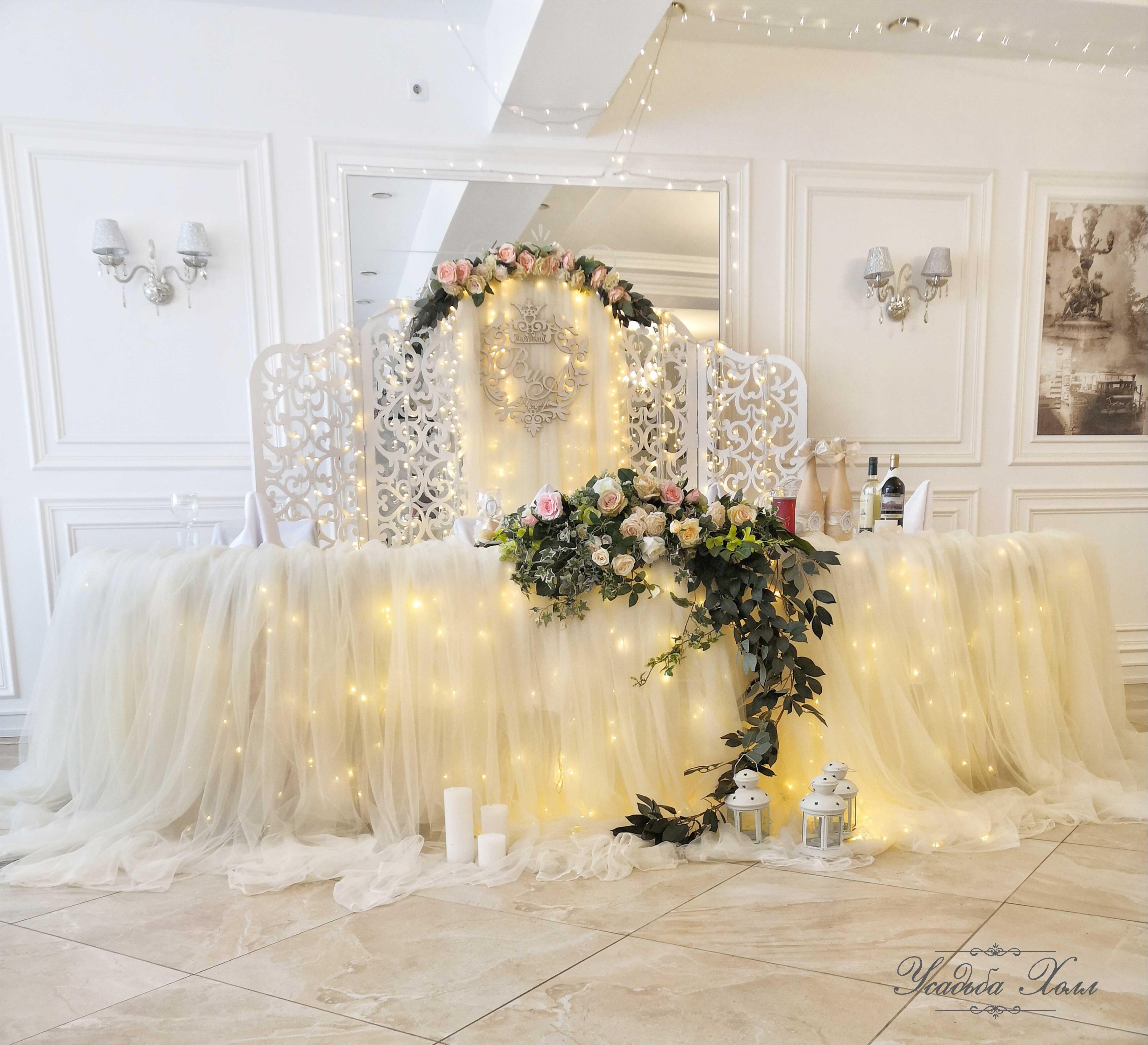 Нежное свадебное оформление банкетного зала Красноярск